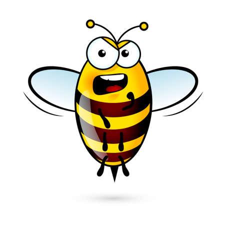 abeja: Ilustración de una abeja en voz alta en el fondo blanco