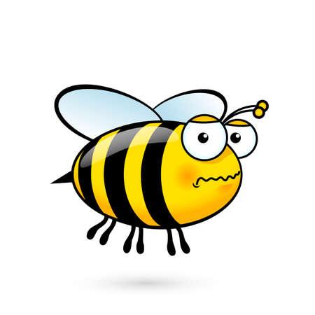 abeja: Ilustración de un amistoso Abeja linda con temor en blanco