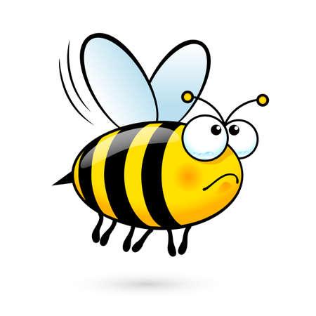 Ilustración de una abeja linda friendly en dolor en el fondo blanco