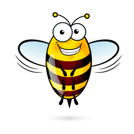 Illustration of a Friendly Cute Bee with Smile