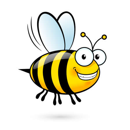 pollinating: Illustration of a Friendly Cute Smiling Bee
