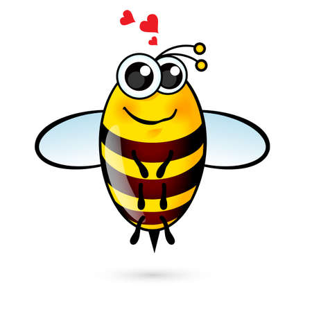 Illustration of a Friendly Cute Bee with Red Hearts
