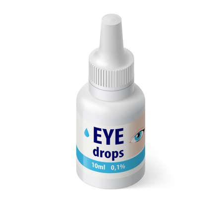 eye drops: Illustration of Medical Bottle for Eye Drops on White Background