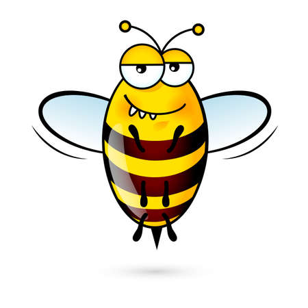 comic wasp: Illustration of a Friendly Cute Bee with Expression