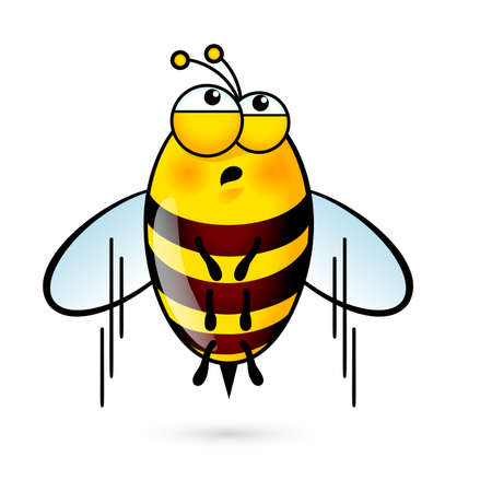 comic wasp: Illustration of Tired a Cute Bee on White Background Illustration