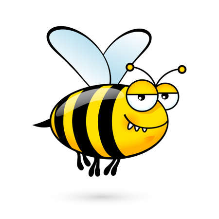 Illustration of a Friendly Cute Bee with Expression on White 矢量图像