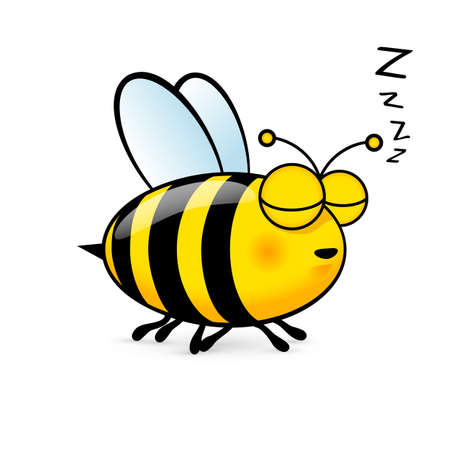 白い背景にフレンドリーなかわいい眠っている蜂のイラスト  イラスト・ベクター素材
