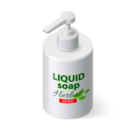 disinfect: Liquid Soap in White Bottle in Isometric Style