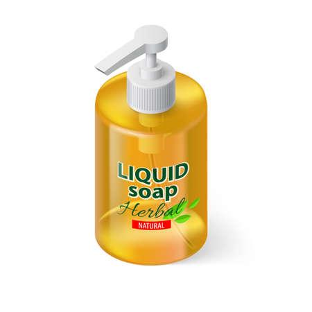 liquid soap: Transparent Bottle with Liquid Soap in Orange Color