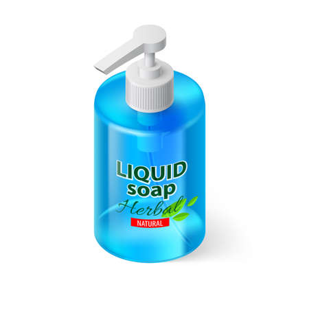 liquid soap: Transparent Bottle with Liquid Soap in Blue Color