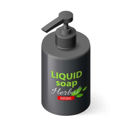 liquid soap: Liquid Soap in Black Bottle on White Background