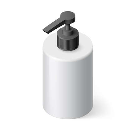 black  cap: Isometric White Bottle with Liquid Soap without Label