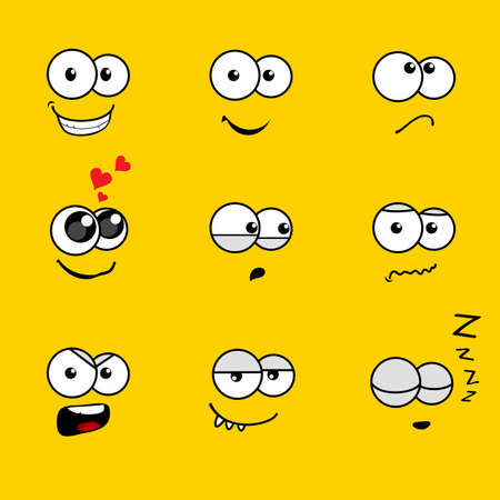 black heart: Cartoon Faces with Various Expressions on Yellow Background