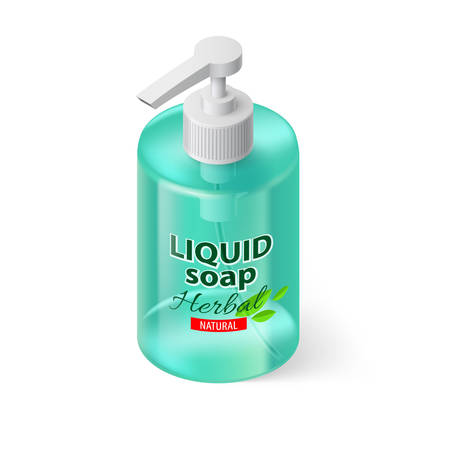 Transparent Bottle with Liquid Soap in Aquamarin Color