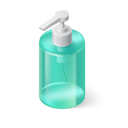 antiseptic: Transparent Bottle in Aquamarin Color without Label