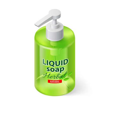 liquid soap: Transparent Bottle with Liquid Soap in Green Color