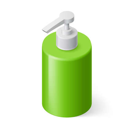 disinfect: Isometric Green Bottle with Liquid Soap without Label