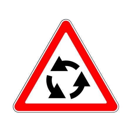 linework: Illustration of Triangle Traffic Sign for Roundabout
