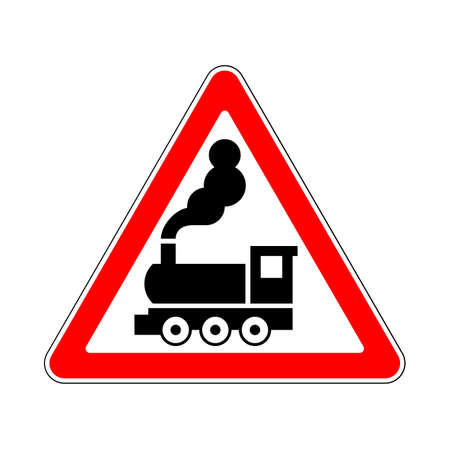 the crossing: Illustration of Warning Signs Railway Crossing without Barrier