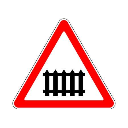 Illustration of Triangle Warning Sign of Beware Barrier Stock Illustratie