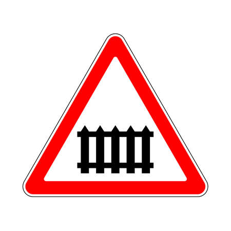 railway: Illustration of Triangle Warning Sign of Beware Barrier Illustration