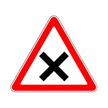 street intersection: Illustration of Triangle Warning Sign for Intersection Illustration