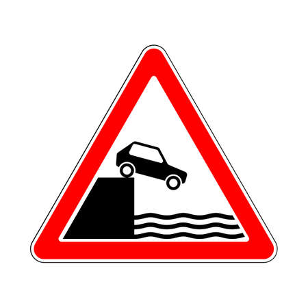 flank: Illustration of Triangle Warning Traffic Signs. Unprotected Quayside or Riverbank