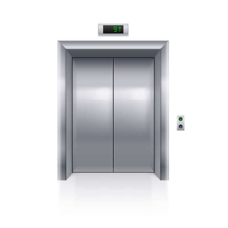 Realistic Metal Modern Elevator with Closed Door on White Background Vettoriali