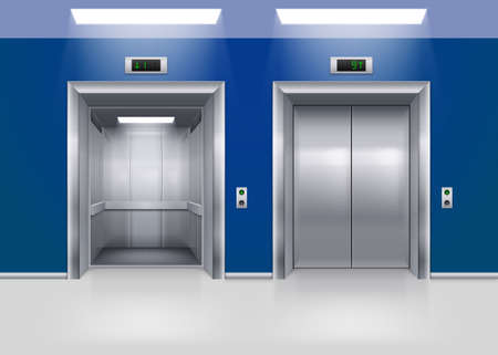 Open and Closed Modern Metal Elevator Doors. Hall Interior in Blue Colors 矢量图像
