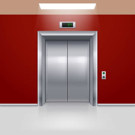 closed door: Realistic Metal Modern Elevator with Closed Door in Red Hall