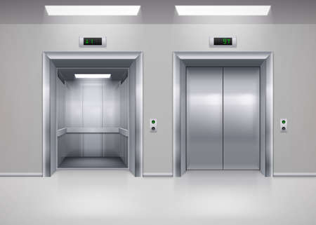 Open and Closed Modern Metal Elevator Doors. Hall Interior in Gray Colors Vectores