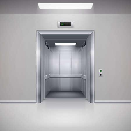 lift gate: Realistic Empty Modern Elevator with Open Door