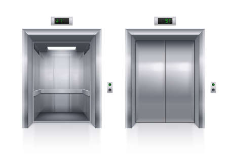 Open and Closed Modern Metal Elevator Doors on White Background