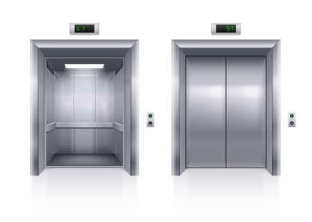 Otwarte i zamknięte metalowe Nowoczesna winda drzwi na białym tle