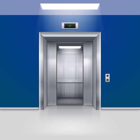 lift gate: Realistic Empty Elevator with Half Open Door in Blue Lobby