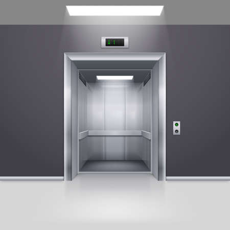 Realistic Empty Modern Elevator with Open Door in Hall