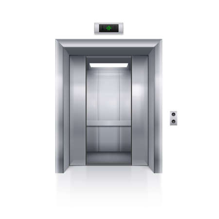 Half Open Chrome Metal Elevator Door on White Background Vettoriali
