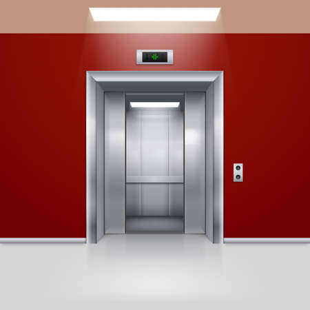 lobby: Realistic Empty Elevator with Half Open Door in Red Lobby