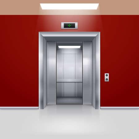 lift gate: Realistic Empty Elevator with Half Open Door in Red Lobby