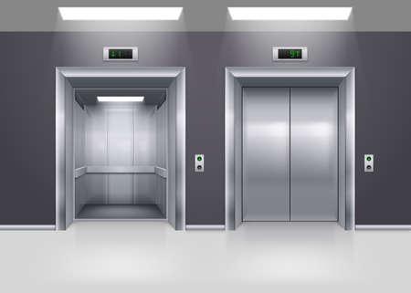 階にオープンとクローズの近代的な金属エレベーター ドア