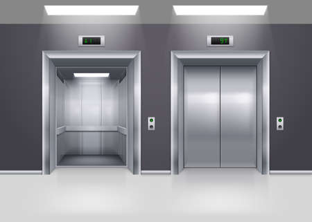 Open and Closed Modern Metal Elevator Doors on Floor Vectores