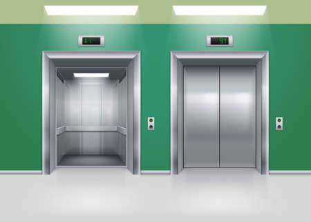 lift gate: Open and Closed Modern Metal Elevator Doors. Hall Interior in Green Colors