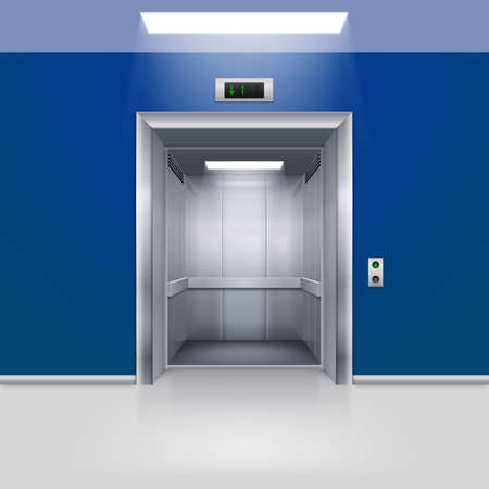 lift gate: Realistic Empty Modern Elevator with Open Door in Blue Hall