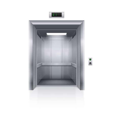 白い背景に現実的な空の近代的なエレベーター
