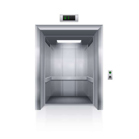 Realistic Empty Modern Elevator on White Background