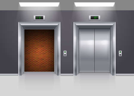 lift gate: Open and Closed Modern Metal Elevator Doors with Deadlock Illustration