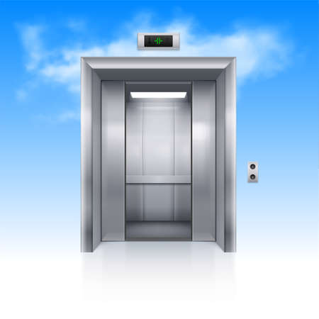 chrome metal: Half Open Chrome Metal Elevator Door in Sky