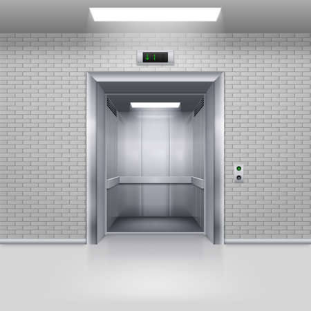 hotel hall: Realistic Empty Modern Elevator with Open Door in a Brick Wall