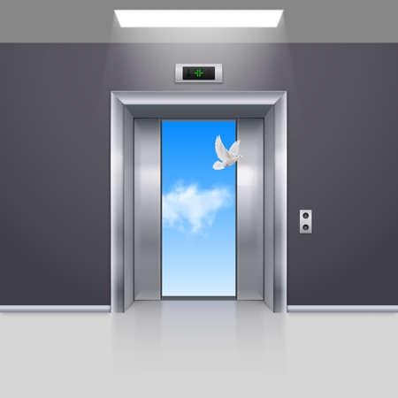 3d dove: Half Open Chrome Metal Elevator Door and White Dove