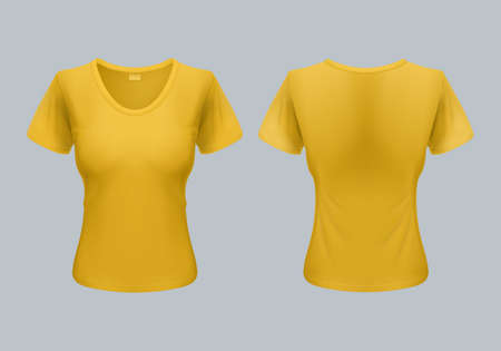 tshirt template: Women T-Shirt Template Back and Front Views in Yellow